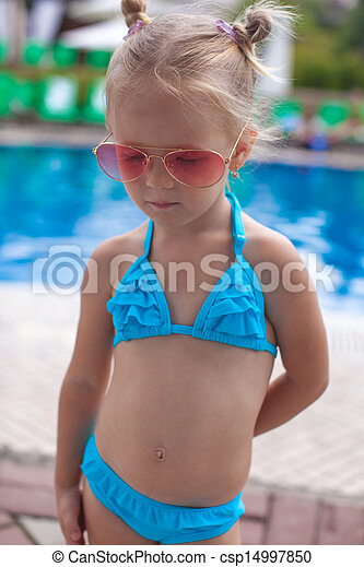 girl near the swimming pool royalty free stock images