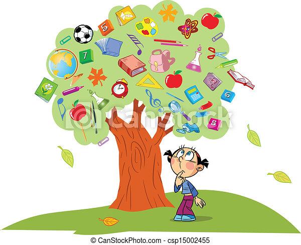 Children reading under tree clipart