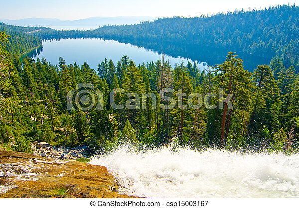 Fallen Leaf Lake with Lake Tahoe in the background - csp15003167