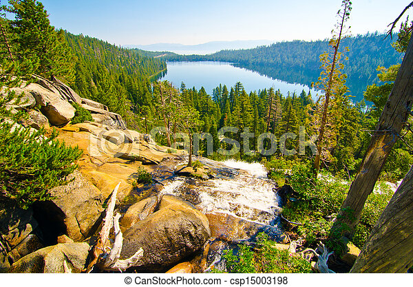 Fallen Leaf Lake with Lake Tahoe in the background - csp15003198