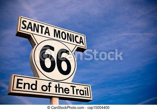 Historic Route 66 Santa Monica sign - csp15004400