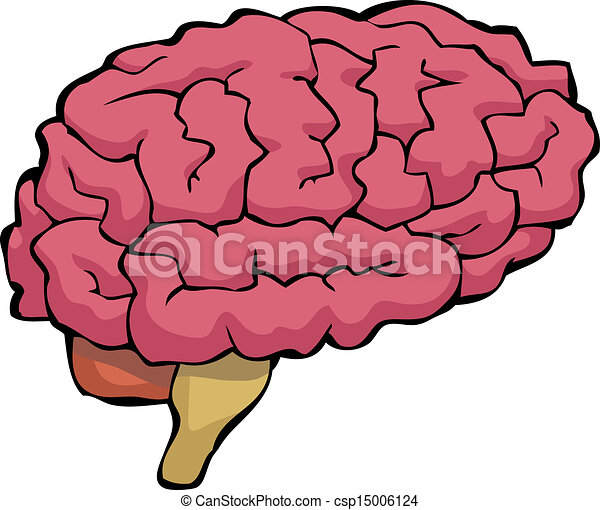 vector illustration of cartoon brain brain on a white Gear Clip Art Thinking Clip Art