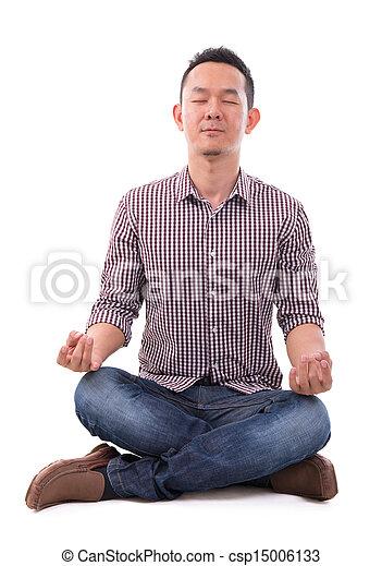 Asian meditation man - csp15006133