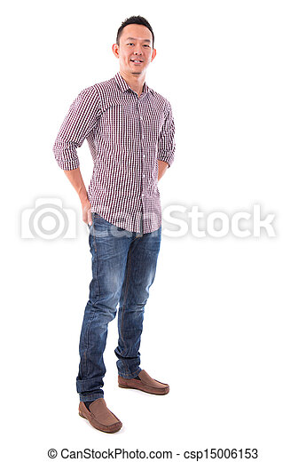 Front view full body confident Asian man  - csp15006153