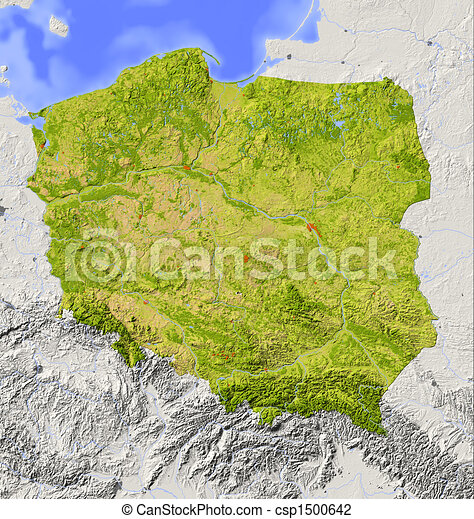 Poland, shaded relief map - csp1500642