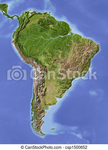 South America, shaded relief map - csp1500652
