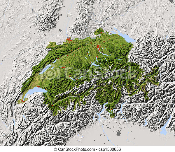 Switzerland, shaded relief map - csp1500656