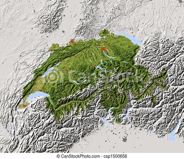 Switzerland, shaded relief map - csp1500656
