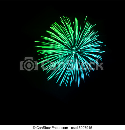 Vector Clip Art of Fireworks in the night sky Vector illustration ...