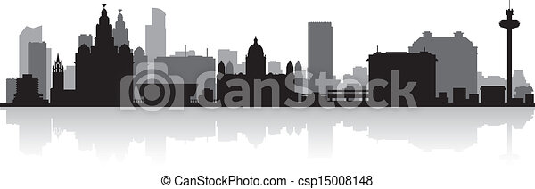 Liverpool city skyline silhouette - csp15008148
