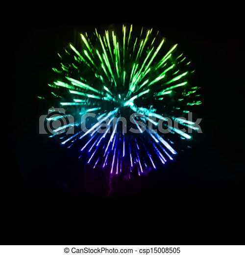 Fireworks in the night sky. Vector - csp15008505
