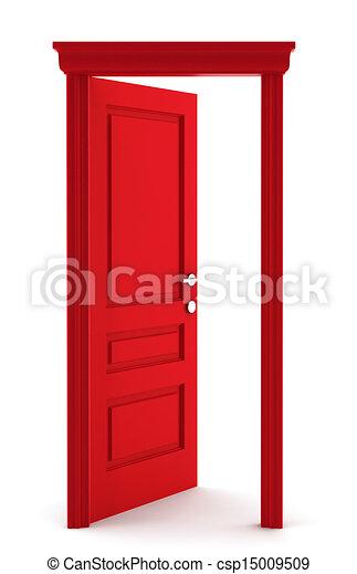 Stock Illustration of Red door. 3d illustration on white ...