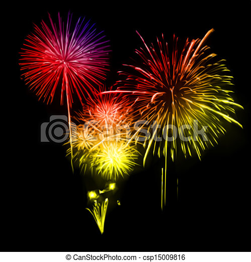 Vector Clip Art of Fireworks in the night sky. Vector illustration ...