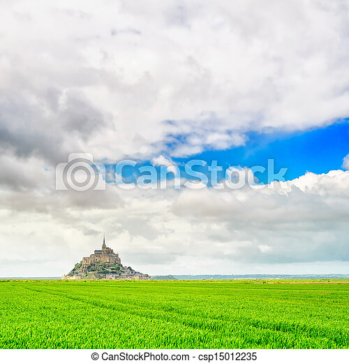 Mont Saint Michel monastery landmark and green field. Normandy, France - csp15012235