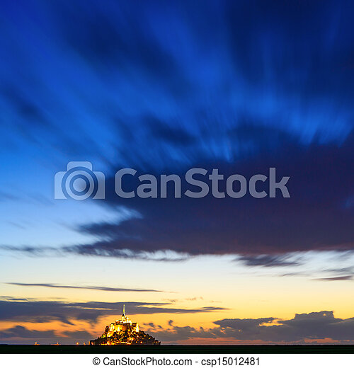 Mont Saint Michel monastery and bay landmark sunset panorama. Normandy, France - csp15012481