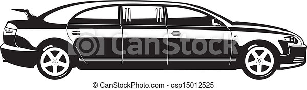 Clipart Vector of Cartoon limousine isolated on white background ...