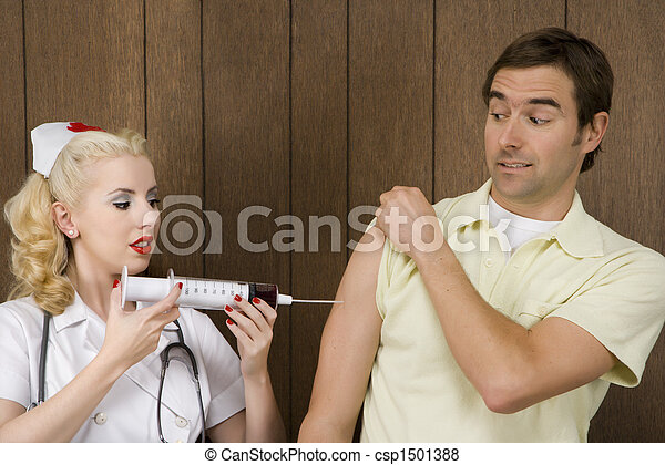 Nurse giving man shot. - csp1501388