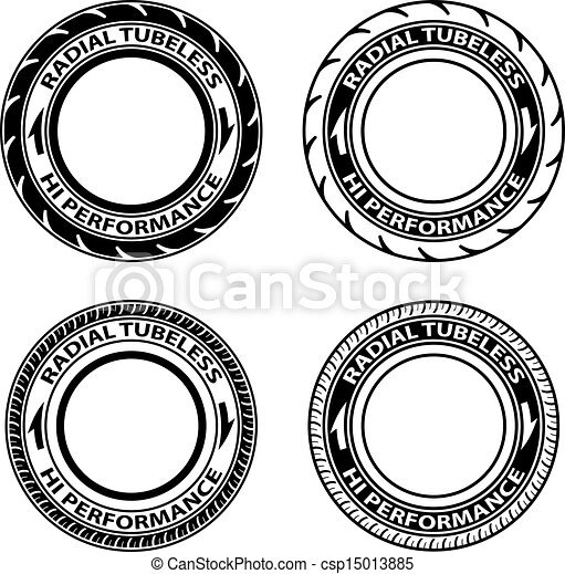 vector radial tubeless tyre symbols - csp15013885