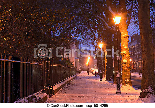 Georgian houses in traditional winter snow scene at nightime - csp15014295