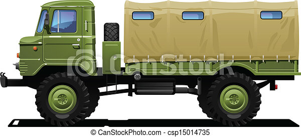 Vecteurs de militaire, camion - vecteur, couleur ...