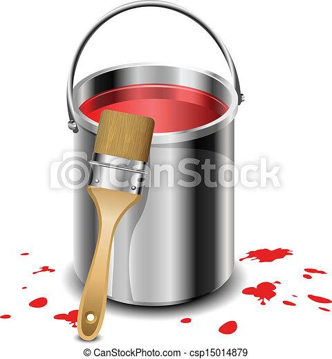 Paint Bucket Vector Paint Bucket With Paint Brush