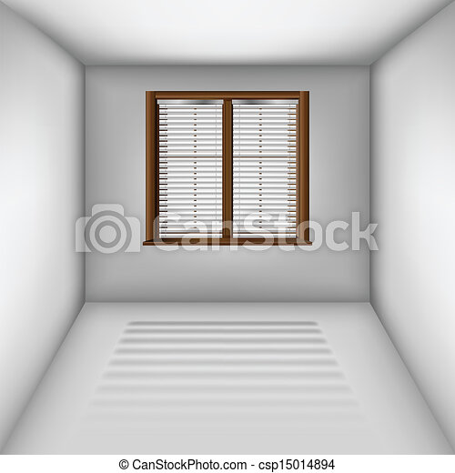 Eps Vectors Of Empty Room With Window And Blinds Empty