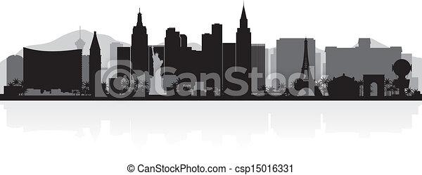 Las Vegas city skyline silhouette - csp15016331