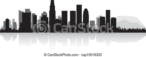 Los Angeles city skyline silhouette - csp15016333
