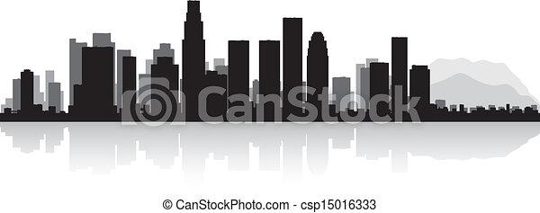 Los Angeles city skyline silhouette - csp15016333