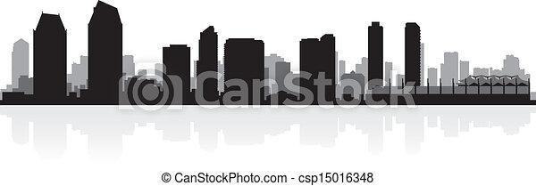 San Diego city skyline silhouette - csp15016348
