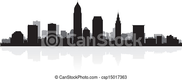 Cleveland city skyline silhouette - csp15017363