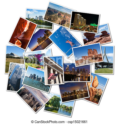 USA famous landmarks and landscapes photo collage - csp15021661