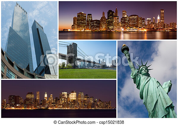 New york city famous landmarks picture collage - USA - csp15021838