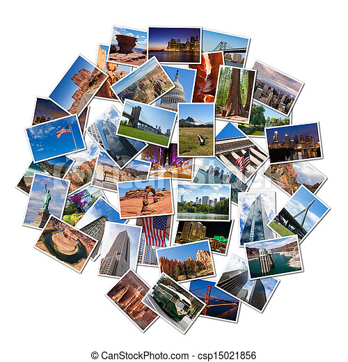 USA famous landmarks and landscapes photo collage - csp15021856