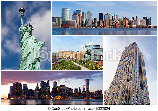 New york city famous landmarks picture collage - USA - csp15022024