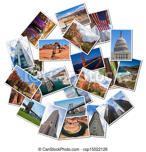 USA famous landmarks and landscapes photo collage - csp15022126