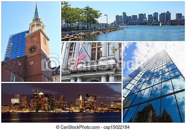 Boston Massachusetts famous landmarks picture collage - USA - csp15022184