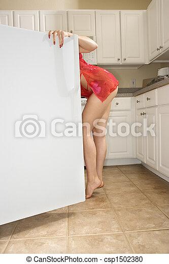 Woman in refrigerator. - csp1502380