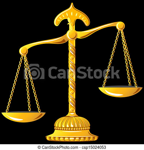 Vector - vector gold scale of justice - stock illustration  royalty    Unbalanced Scale Of Justice Vector