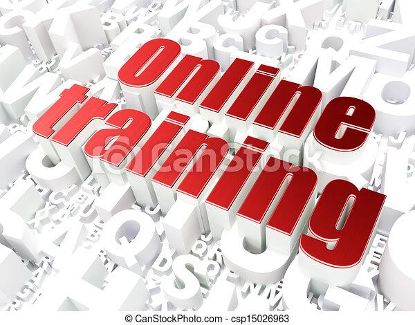Education concept: Online Training on alphabet background - csp15026963