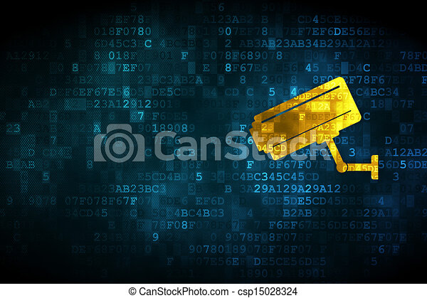 Clip Art of Protection concept: Cctv Camera on digital background ...