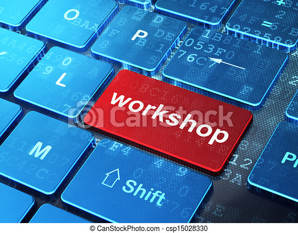 Education concept: Workshop on computer keyboard background - csp15028330