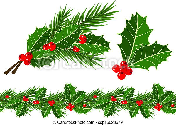 Holly Bush Drawings Vector Holly Leaves And