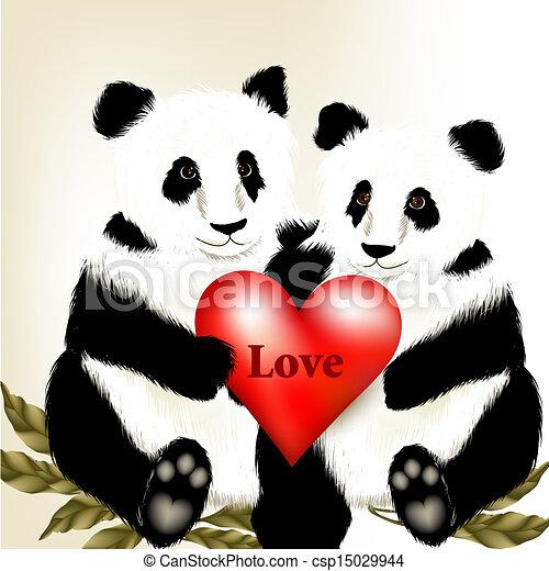 illustration mignon tenue coeur ours grand couple panda w dessin anim rouges