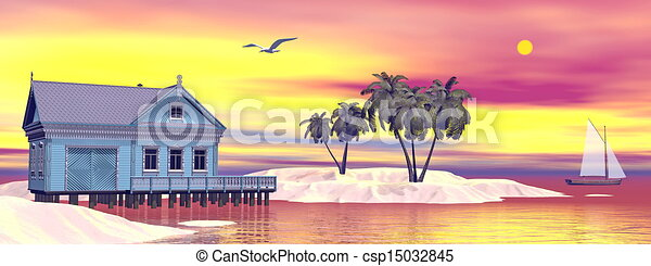 Drawing of beach house 3d render tropical bungalow and for Beach house drawing