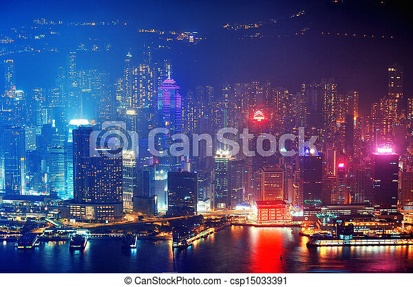 Hong Kong aerial night - csp15033391