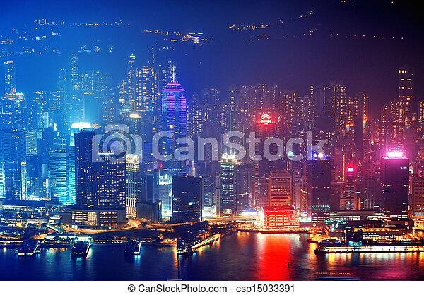Hong Kong aerial night - csp15033391