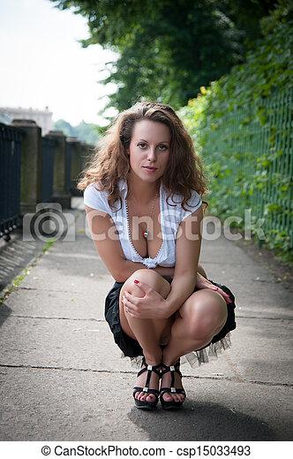 Suggest Beautiful girl in short skirt bending over