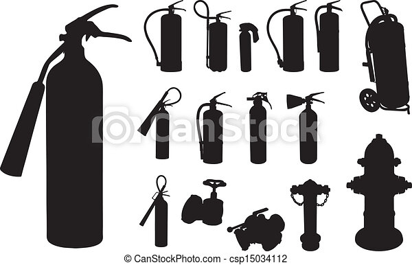 Vector Clip Art of Fire extinguisher silhouette - 12 Fire ...
