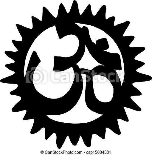 Clipart Vector of Om symbol on black background - Vector ...